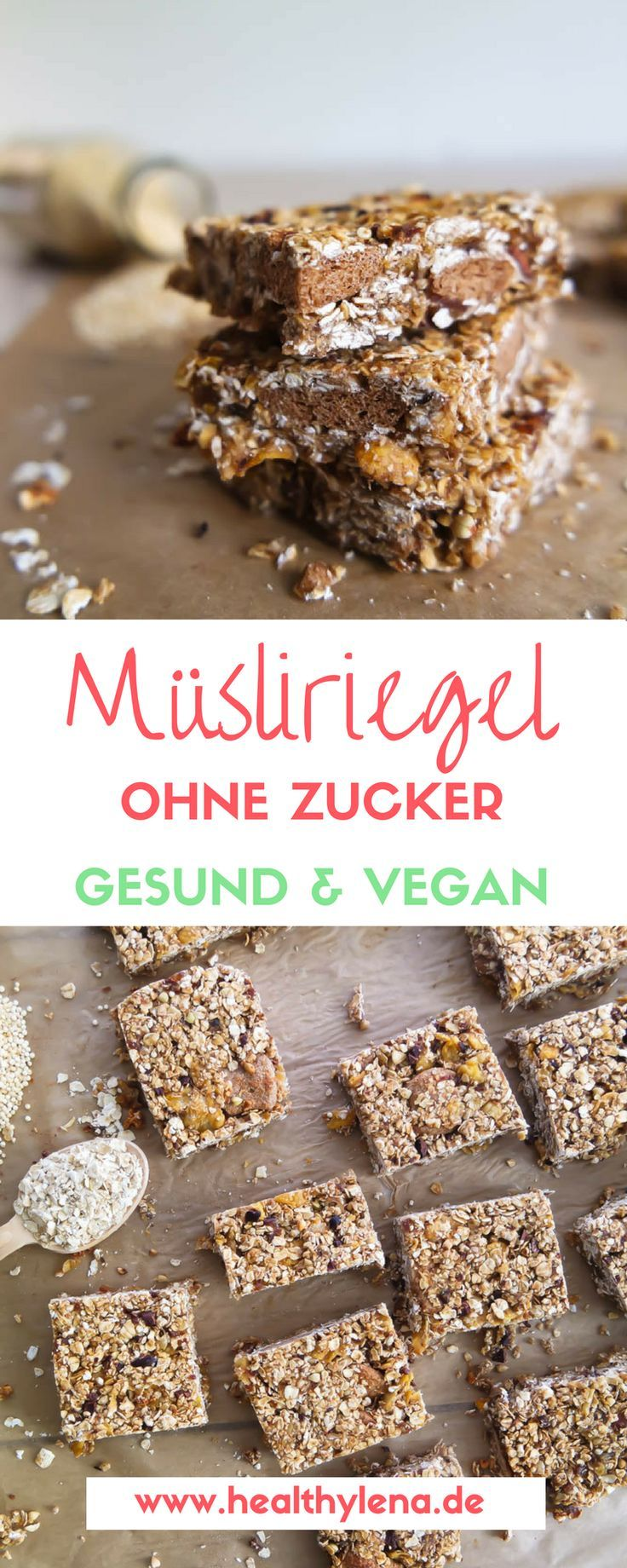 Vegane Müsliriegel - glutenfrei und ohne Zucker   - F O O D -