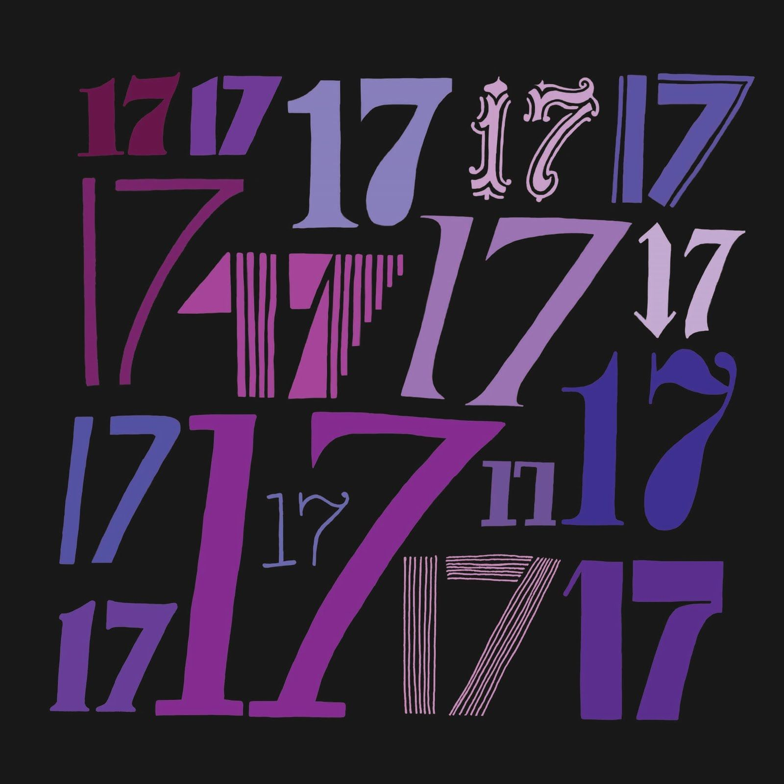 the number 17 in purple | The number 17, drawn in 17 ...