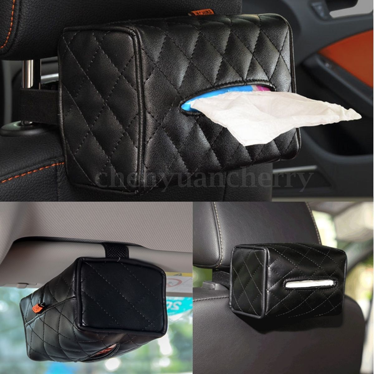 Black  Car PU Leather Tissue Box Cover Seat Paper Hotel Napkin Holder Case UK