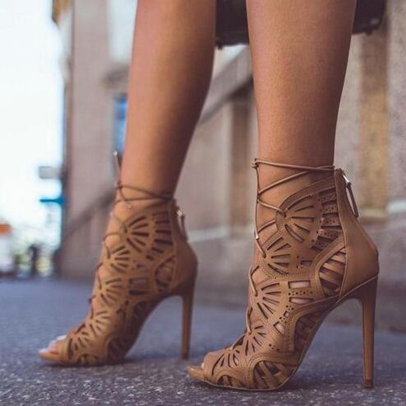 Lady Strappy and Laser Cut Peep Toe Stiletto Lady Dress Heeled Sandals Shoes b71cf9a1bc53