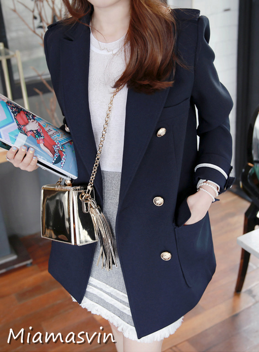 Double Breasted Jacket with Gold Tone Buttons #koreanfashion #asianfashion #womenfashion #smartcasual