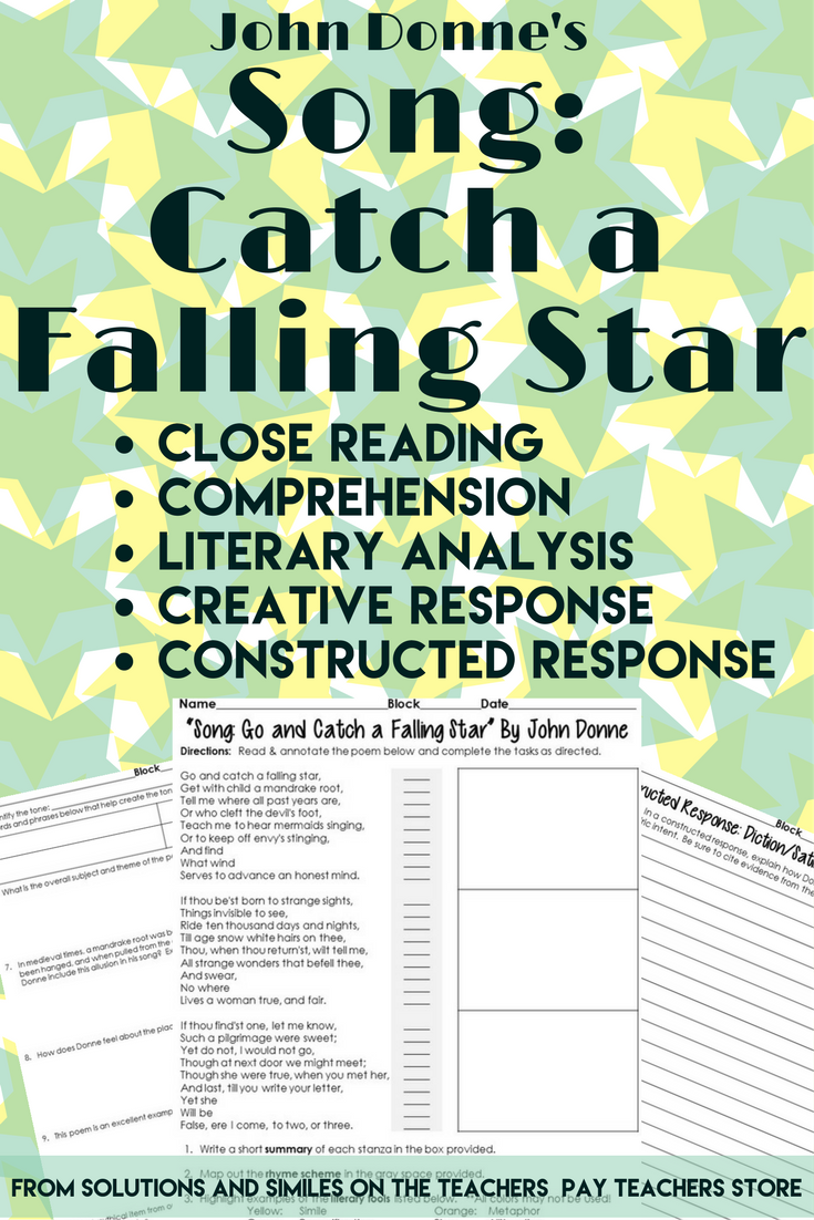 go and catch a falling star literary devices