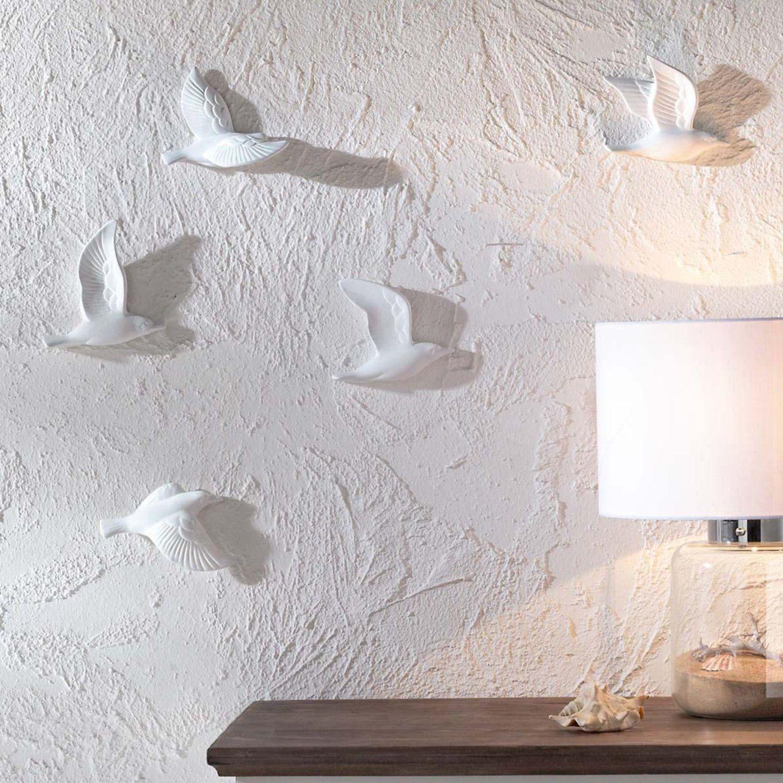 Fancy Wanddeko M wen in D Optik aus Keramik Wei St ck