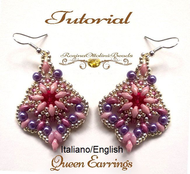 Queen Earrings PDF Beading tutorial color by RosinaOttoliniBeads