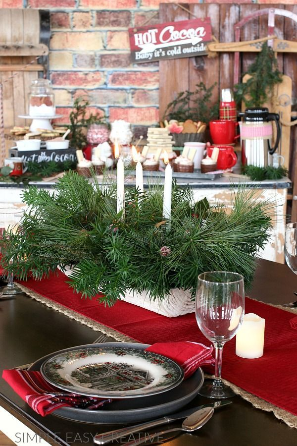 Diy Table Centerpiece Made With Fresh Greens Christmastable Tablecenterpiece Easy Christmas Decorations Christmas Diy Christmas Centerpieces