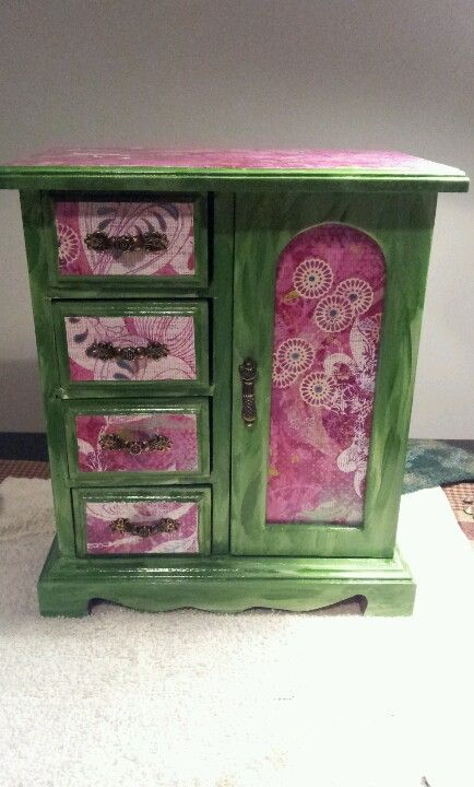 Old jewelry box after scrapbook paper mod podge funky jewelry