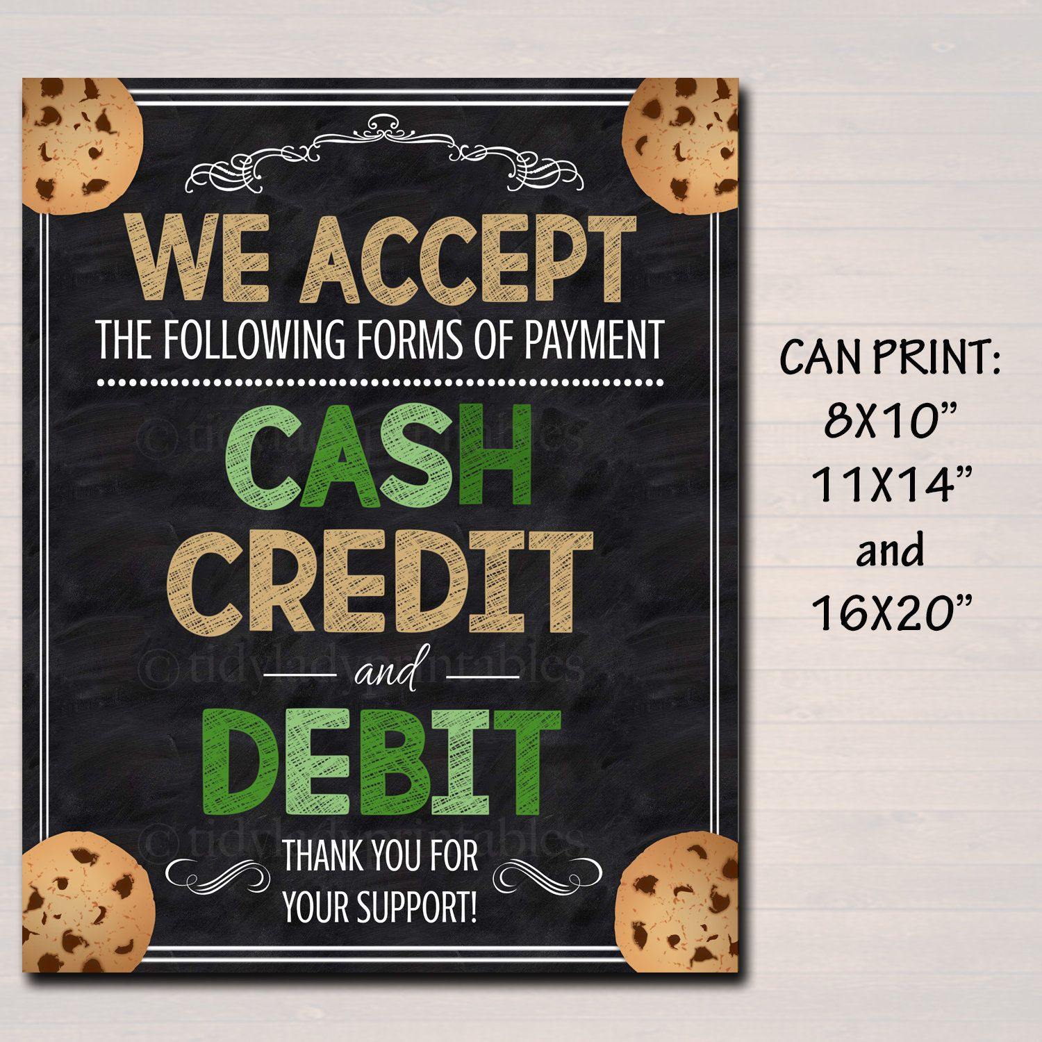 PRINTABLE Credit Card Sign, Fundraising Booth, Bake Sale, Cookie Booth Sign We Accept Credit Cards Scouts Cookie Banner, Cookie Booth Poster #bakesaleideas