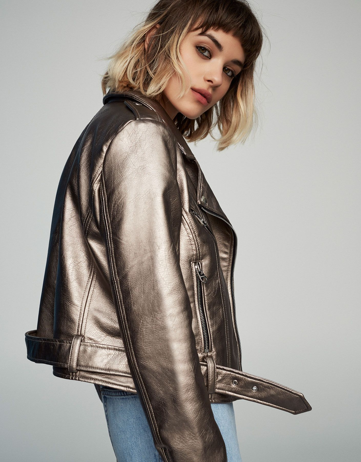 Faux leather biker jacket See all New Woman PULL