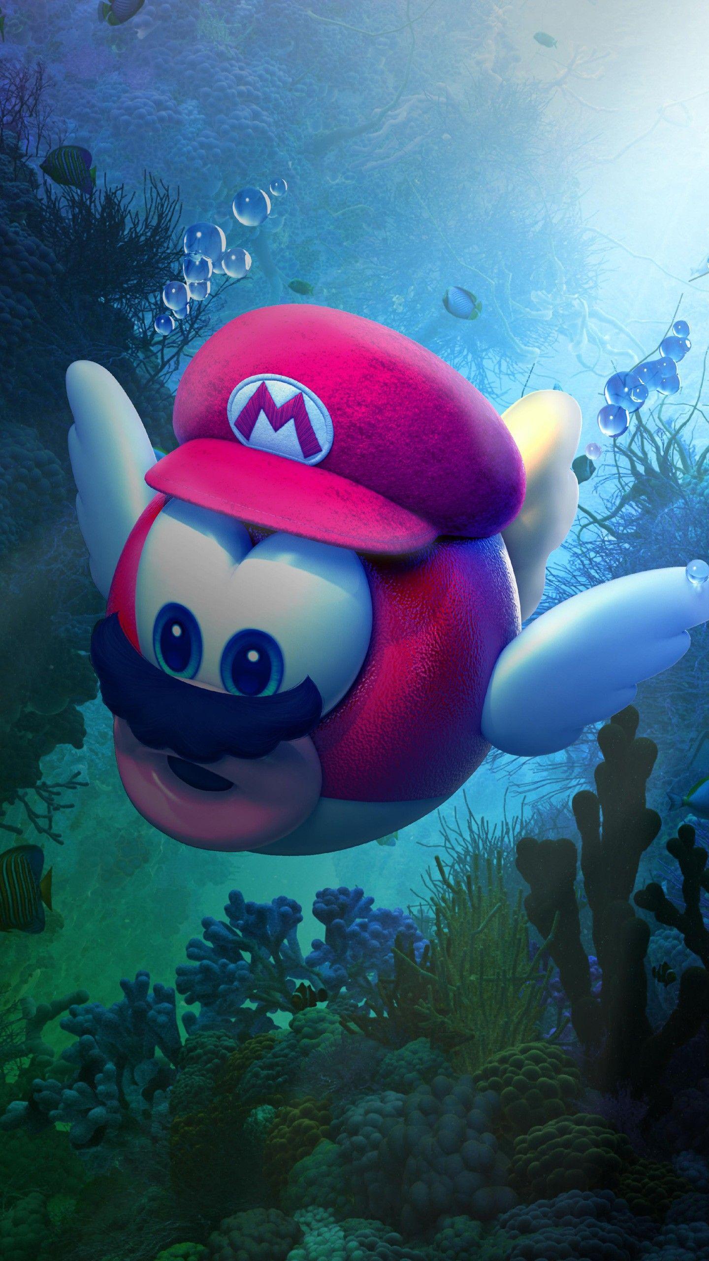 Misc Super Mario Odyssey Underwater 4k Wallpapers Super Mario Art Super Mario Bros Mario Art