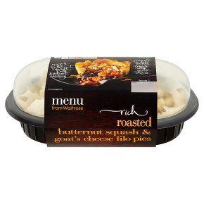 menu from Waitrose Butternut & Goats Cheese Filo Pies