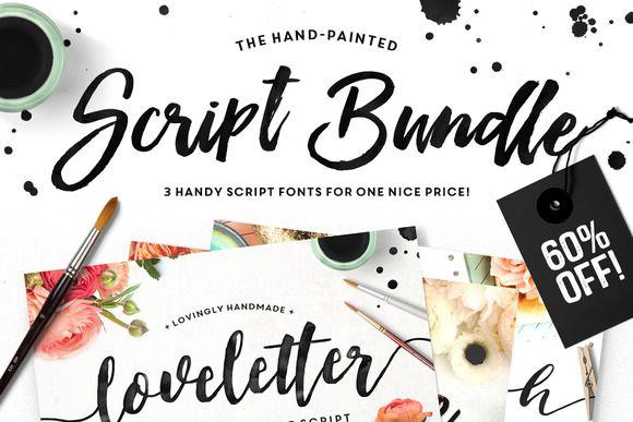 The brush script bundle brush script fonts and creative