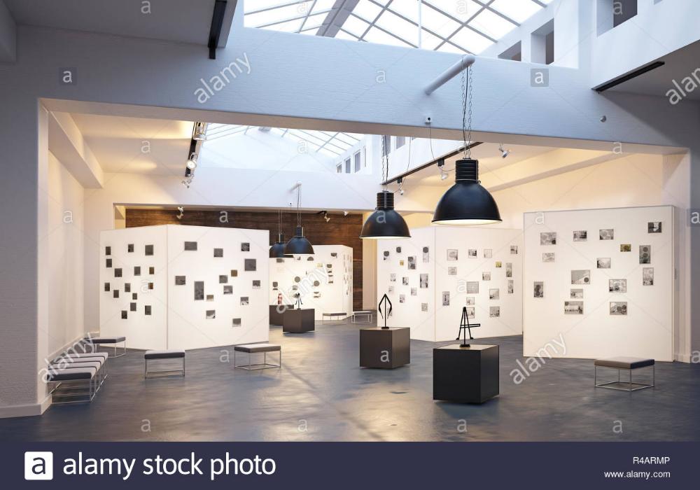 Modern Museum Exhibition Interior 3d Design Concept Rendering Stock Photo Museum Interior Design Exhibition
