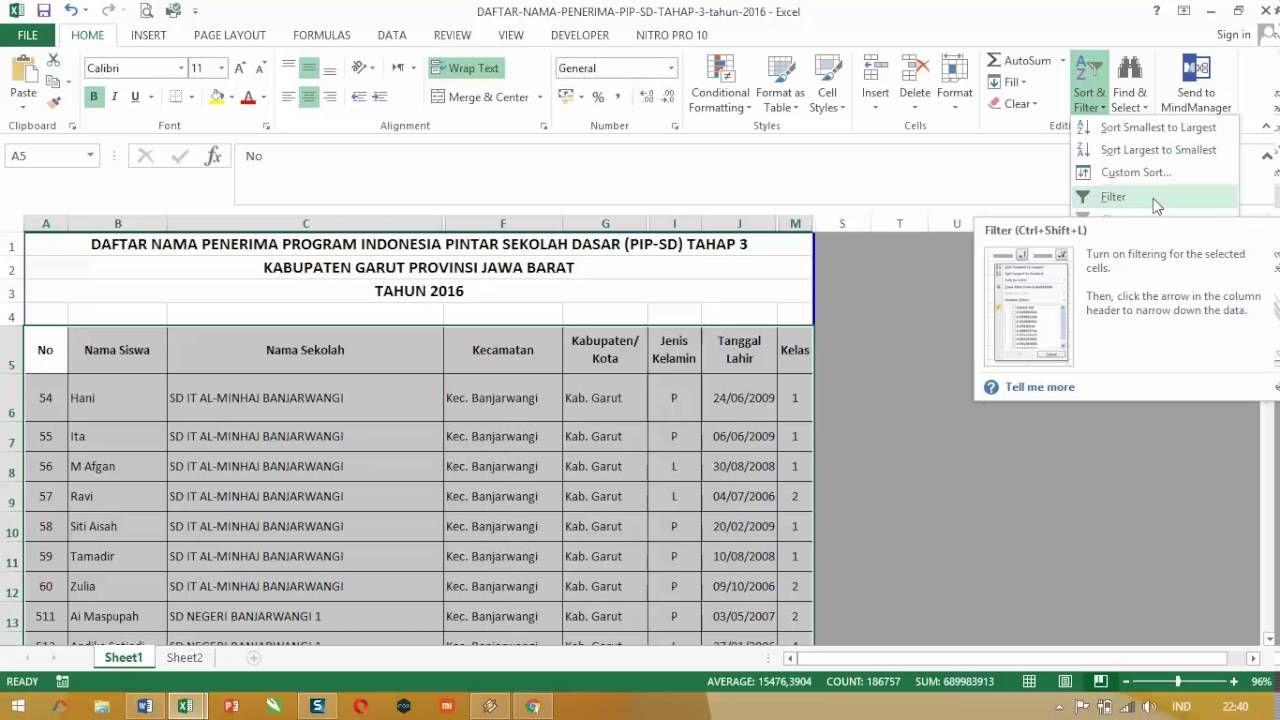 Cara Menambahkan Opsi Filter Pada Ms Excel Sekolah Dasar Sekolah Nama