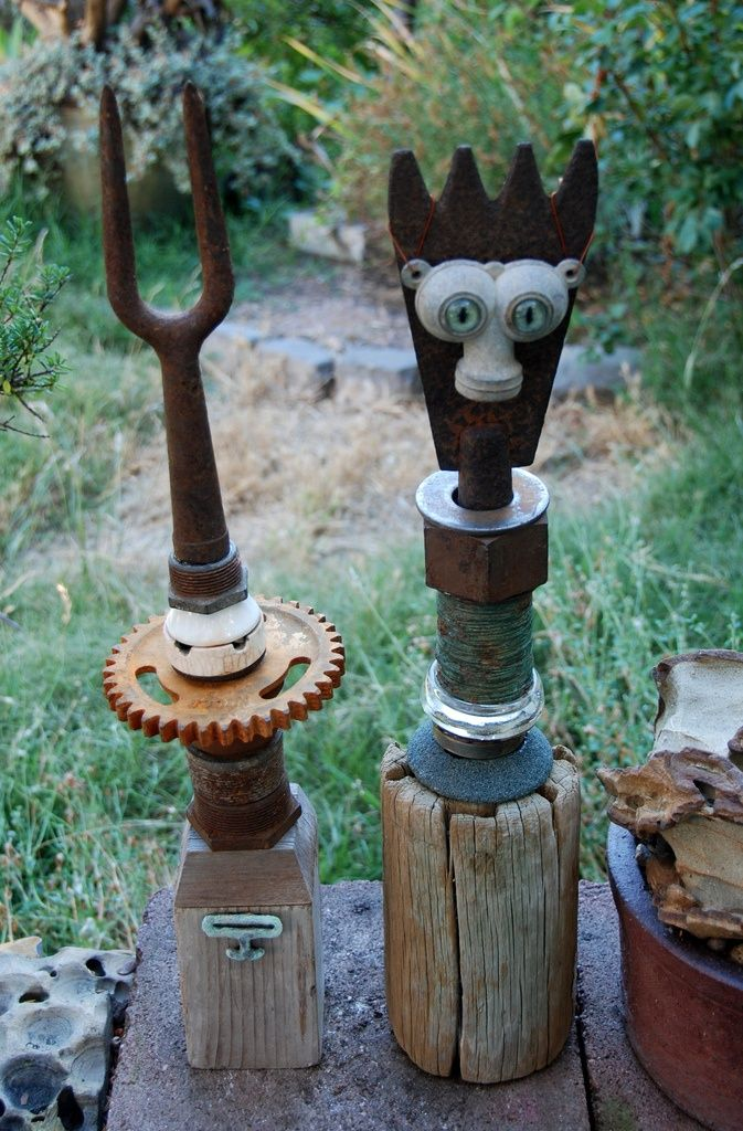 Rusty Junk Art | Rusty Junk Sculptures I Make As Garden Focalpoints |  Collectors Weekly