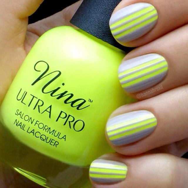 Grey yellow stripe nail art #nail #nails #nailart | Nail | Pinterest ...
