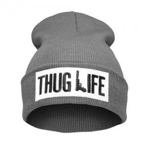 Thug Life Szara 02 Czapka Beanie Krasnal Naszywka Thug Life Vogue Beanie