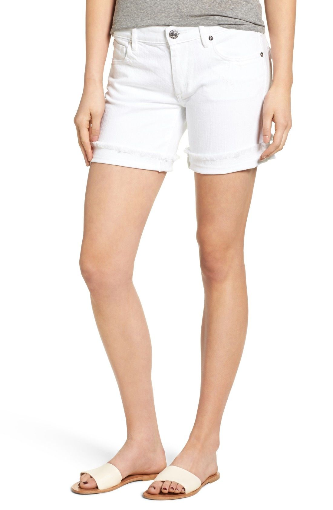 True Religion Brand Jeans Emma Bermuda Shorts (Optic White) available at #Nordstrom