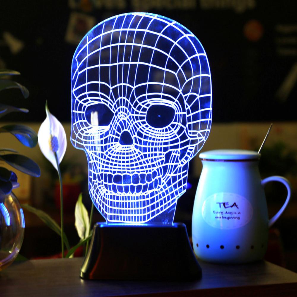 3D illusion LED Skull Lamp Free Shipping | Skull light, Star