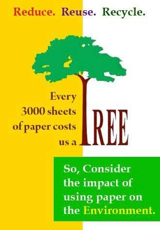 009 Every 3,000 sheets of paper costs us a tree. Interesting