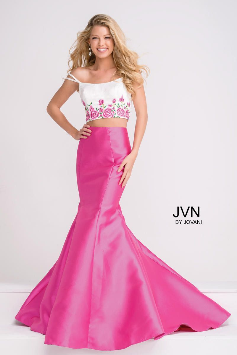 JVN by Jovani JVN50204A Fuchsia mermaid bottom, white floral top ...