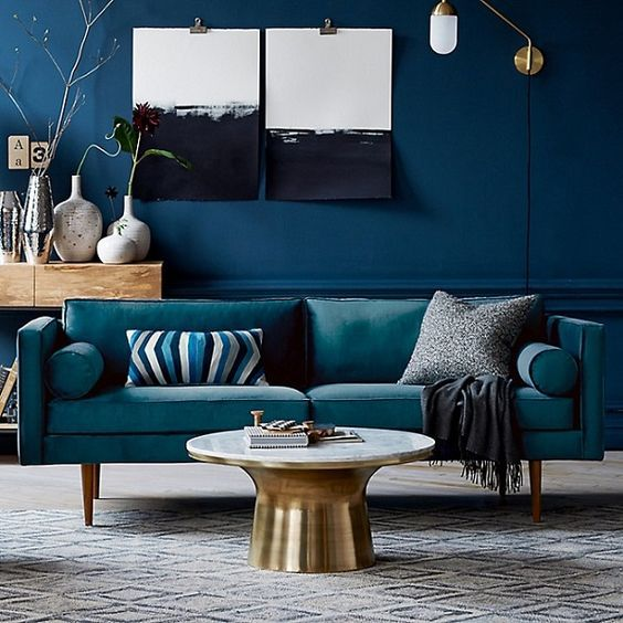 dcoration intrieure salon living room couleur color peinture murale canap bleu - Cyan Living Room Decor