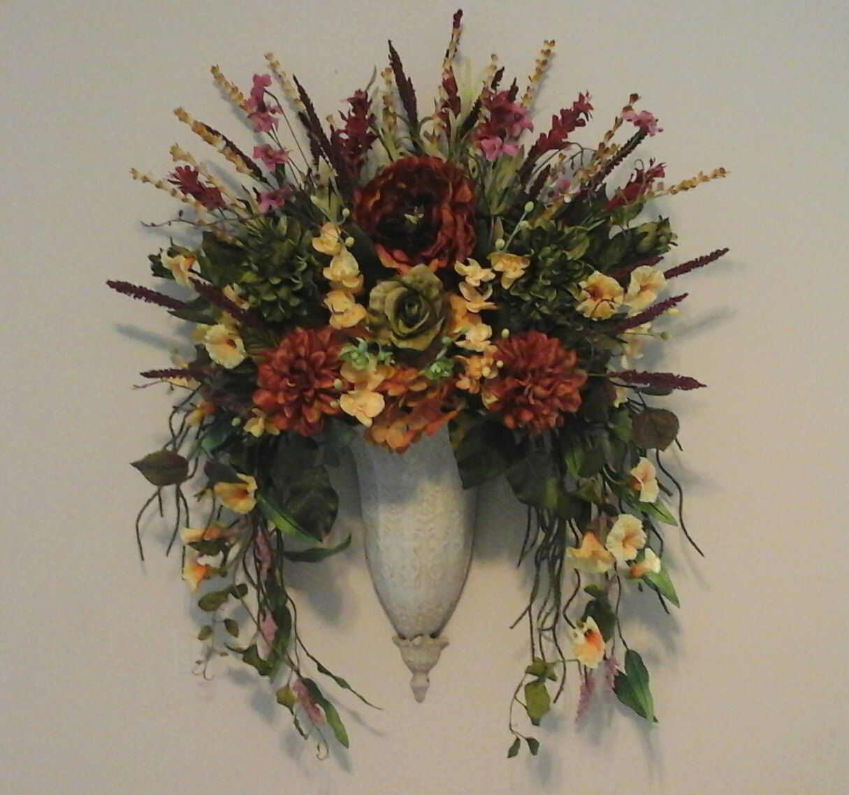 Wall Sconces With Flowers: Tuscan Floral Wall Sconce, Fall Wall Planter,Wall Pocket