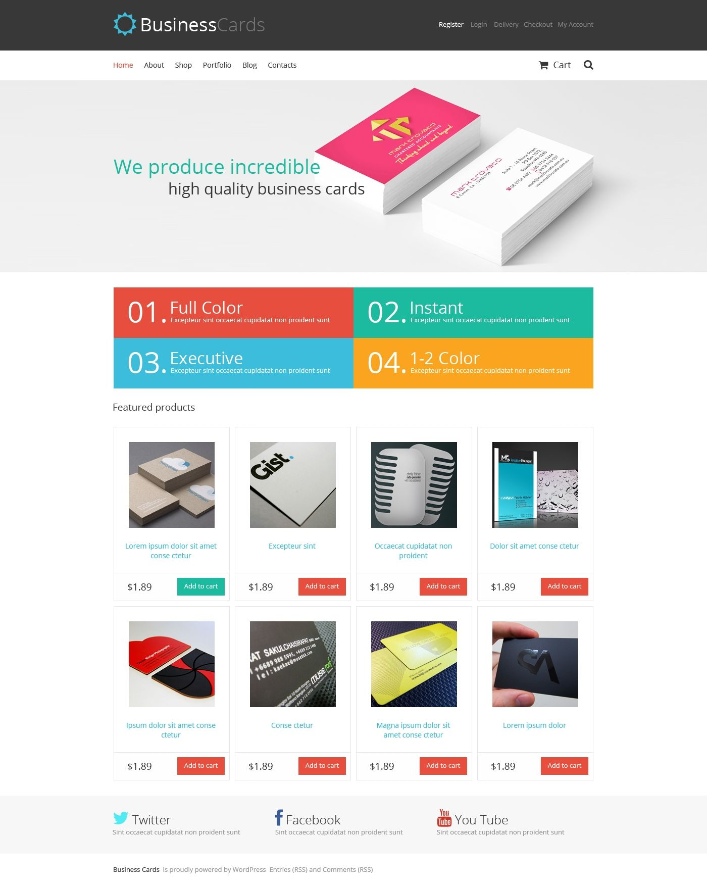 Business Cards Store WooCommerce Theme | Business cards, Template ...