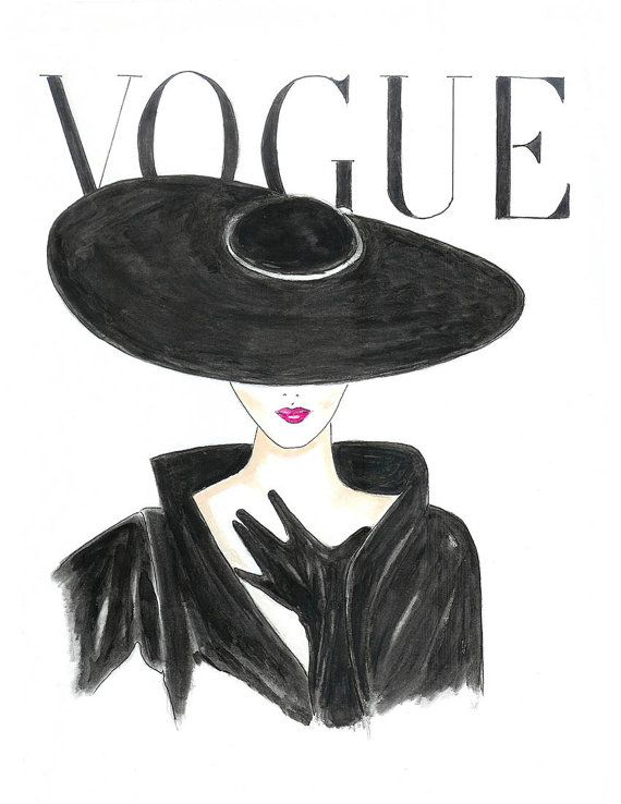 Photo of Watercolor Hot Pink Lips 1950's Vogue Poster, Vogue Face Cover Hand Drawn Fashion Illustration Print, Black and White Fashion Art by Zoia