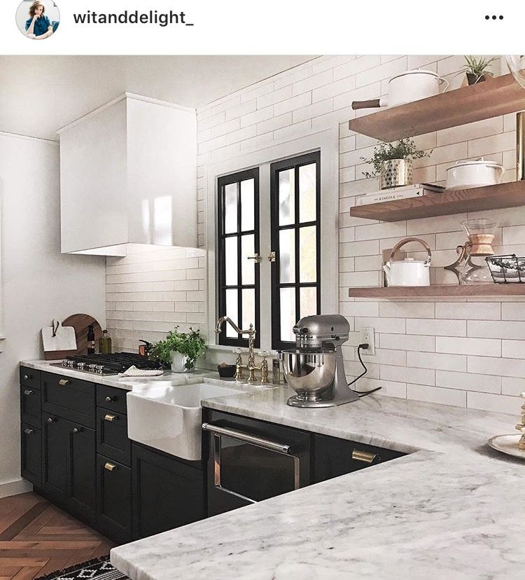 Black Kitchen Cabinets White Tile: Black And White Kitchen. Black Lower Cabinet Subway Tile