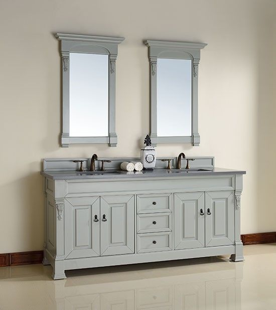 James Martin Brookfield (double) 72 Inch Urban Gray Transitional Bathroom  Vanity With Top