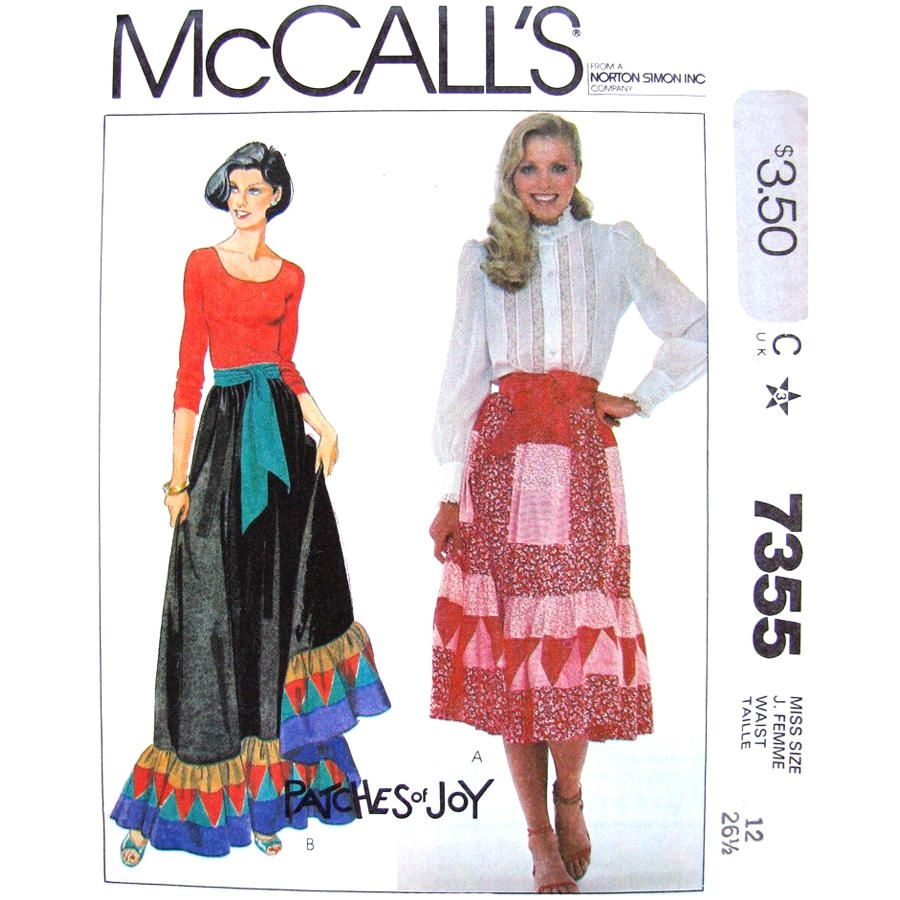 Patchwork Skirt Sewing Pattern McCalls 7355 Maxi or Midi Skirt ...