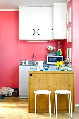 Instead of dining table/breakfast bar/counter top, use a cabinet (paint/waterproof the top) for extra storage. Use stools.