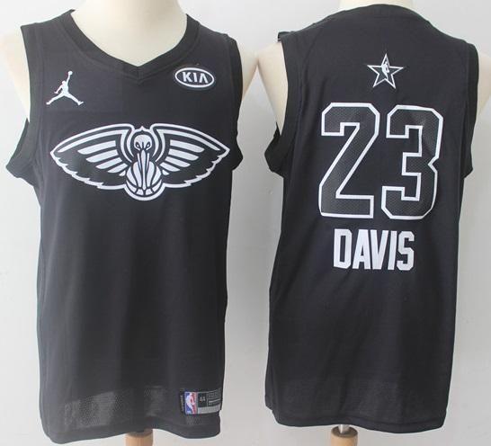 Mens 2018 All Star Anthony Davis Jersey Black New Orleans Pelicans Fans  Swingman c65f3e3cc