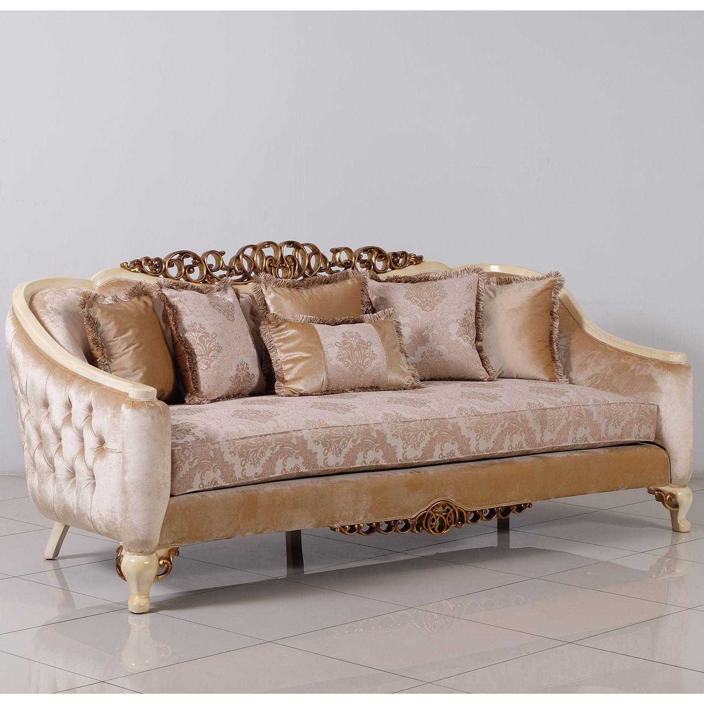 Grand European Luxury Furniture Angelica Sofa Tufted Fabric Antique Beige Gold Mahogany In 2020 European Furniture Furniture Furniture Sofa Set