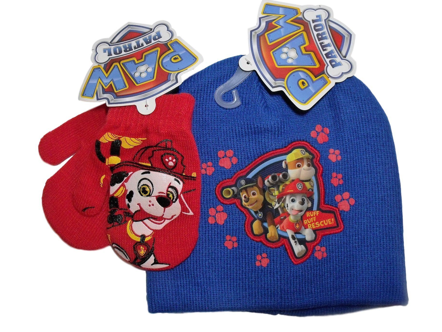 3be6c339ef4 Paw Patrol Blue with Red Footprints Knit Beanie Hat Red Mittens Set. Boys  cold weather set  knit beanie hat   matching gloves. Blue with red  footprints knit ...