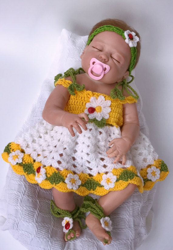 Baby dress, Crochet headband, Crochet shoes, Crochet cardigan, White ...