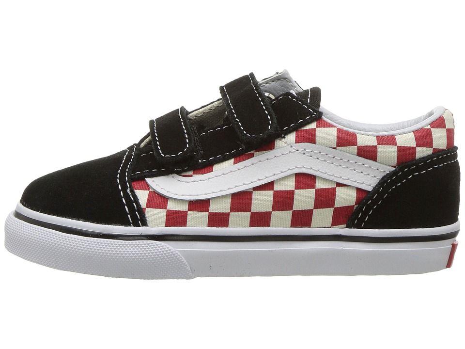 f340b3cc75eb3c Vans Kids Old Skool V (Toddler) Boys Shoes (Checkerboard) Black Red ...