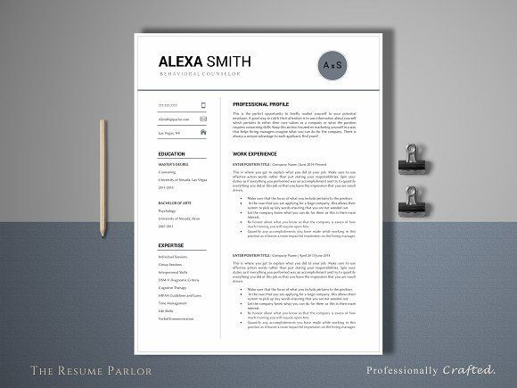 Awesome Resume Template  Page  Counselor Creativework  Fonts