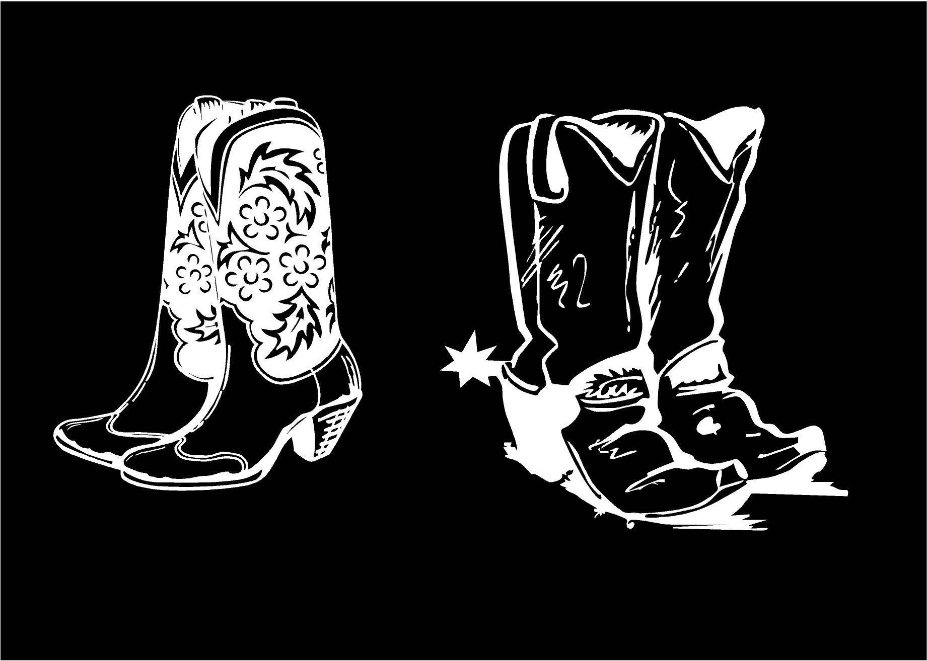 Western Boot Decal Cowboy Boot Decal Cowgirl Boot Decal Car Decal - Cowboy custom vinyl decals for trucks