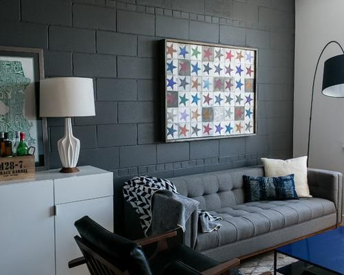 22 Fun And Cheap Ideas For Diy Cinder Block Projects Grey Walls Living Room Living Room Grey Concrete Block Walls