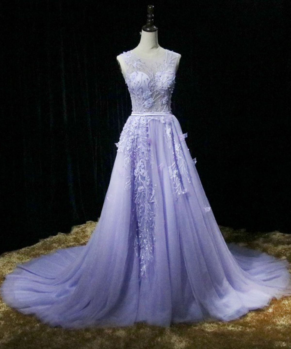 Violet Tulle Crystal Long Embroidery Senior Prom Dress Long Pageant Prom Gown From Sweetheart Dress Violet Prom Dresses Senior Prom Dresses Prom Dresses [ 1440 x 1200 Pixel ]