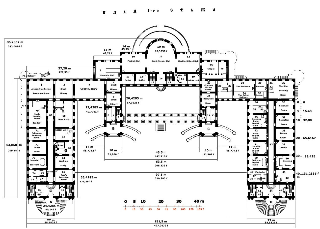 Dimensions Of The Alexander Palace Ground Floor At Tsarskoe Selo Architectural Floor Plans Romanov Palace Palace