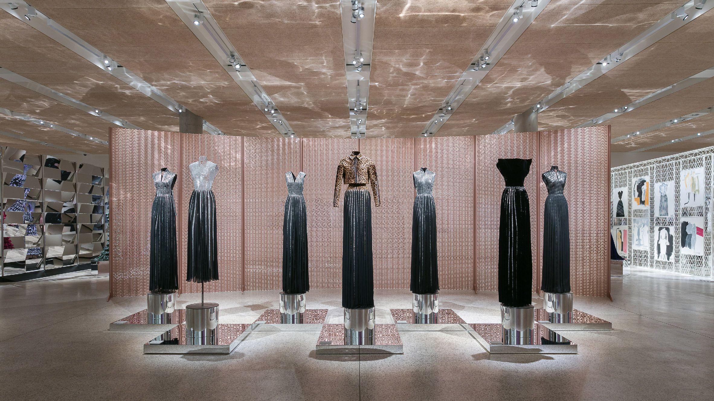 Azzedine Alaia S Design Museum Exhibition Teams Garments With Custom Made Screens Museum Fashion Azzedine Alaia Design Museum