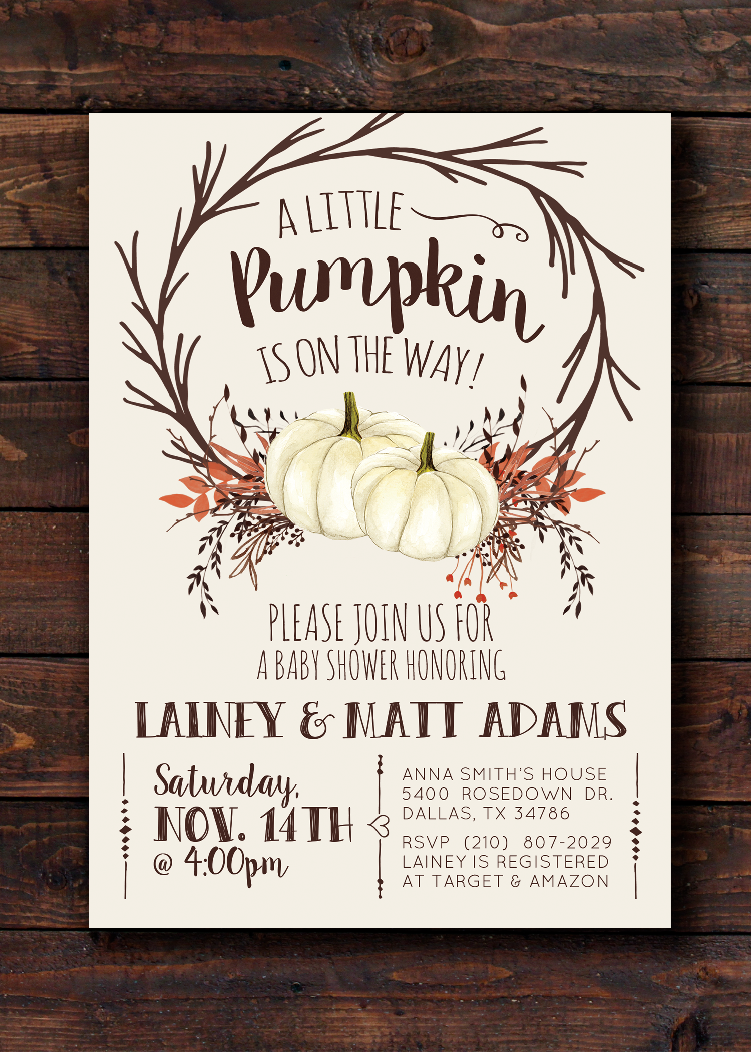 White Pumpkin Baby Shower Invitation Invite for Fall Featuring