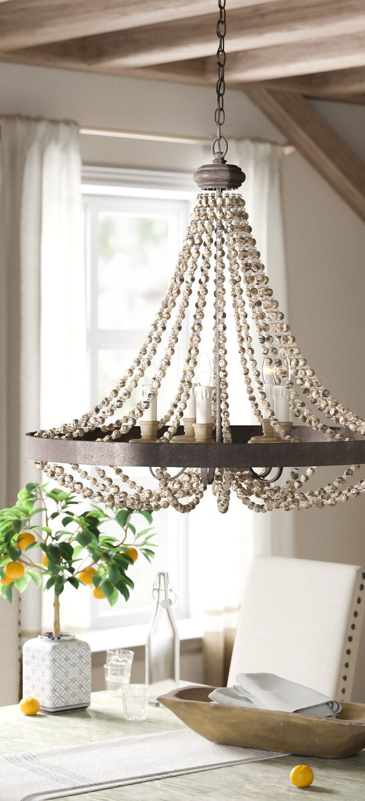 Photo of Farmhouse Empire Chandelier | Ladonna 5-Light Chrystal Chand…