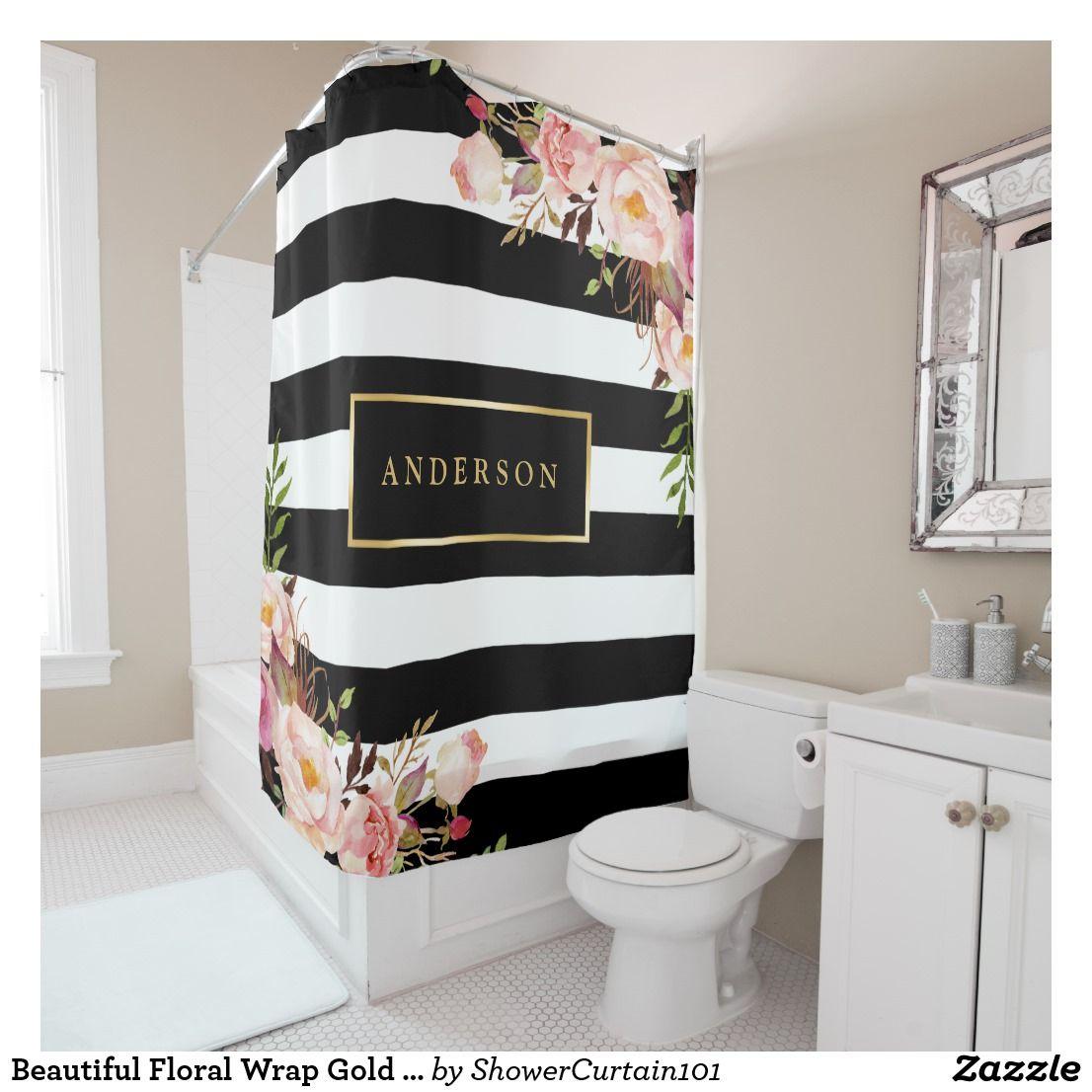 Beautiful floral wrap gold frame elegant stripes shower curtain