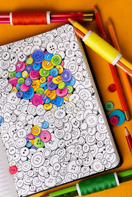 Buttons - Adult coloring pages by Coloring Notebook. Paper journal ...