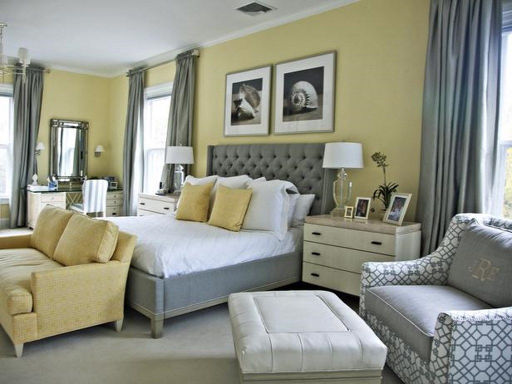sophisticated, comfy - pale yellow walls white trim, pale grey
