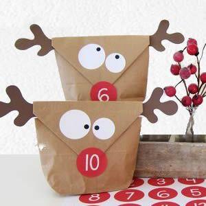 Creaclic.ch - Fiche créative Pochette cadeau kraft renne / hibou