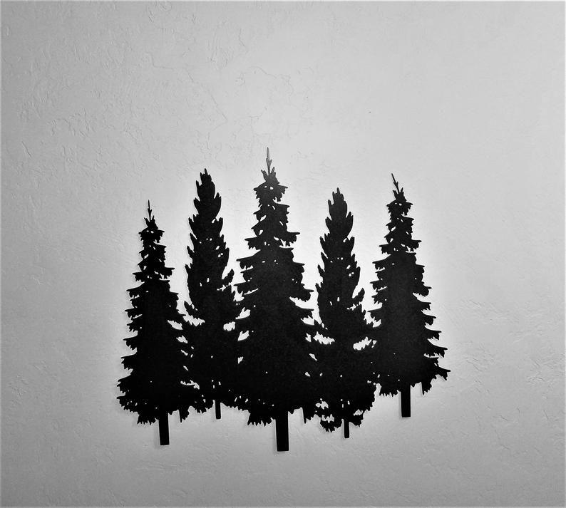 Metal Pine Trees Group Of 5 Pine Trees Metal Wall Art Etsy Metal Tree Wall Art Etsy Wall Art Metal Tree